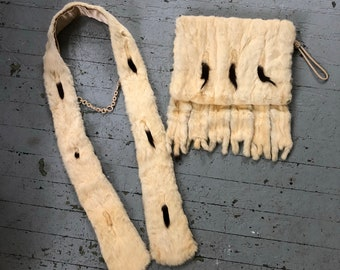Antique 1900's/1910's Ermine Fur Muff & Scarf Set