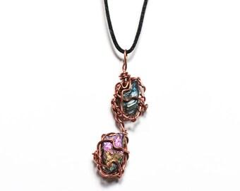 Titanium Aura Copper Wrapped Pendant