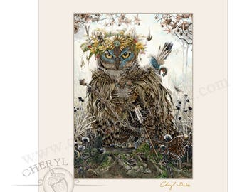 Owl Decor - Matted Art - Owl Art - Great Horned Owl - Owl Wall Art - Woodland Cottage - Country Cottage Decor Owl Home Decor Flying Owl Art