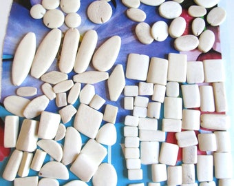 Carved Bone Pendants, White Oval Bone, Rectangle Connectors, Mix Shape Beads, Freeform Spacer Beads, 25+ Pc 07296