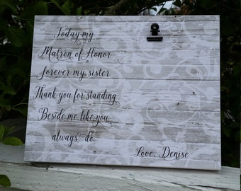Matron of honor, Sister of the Bride  frame,  personalized wedding picture frame, sister in law gift, sister of the bride gift