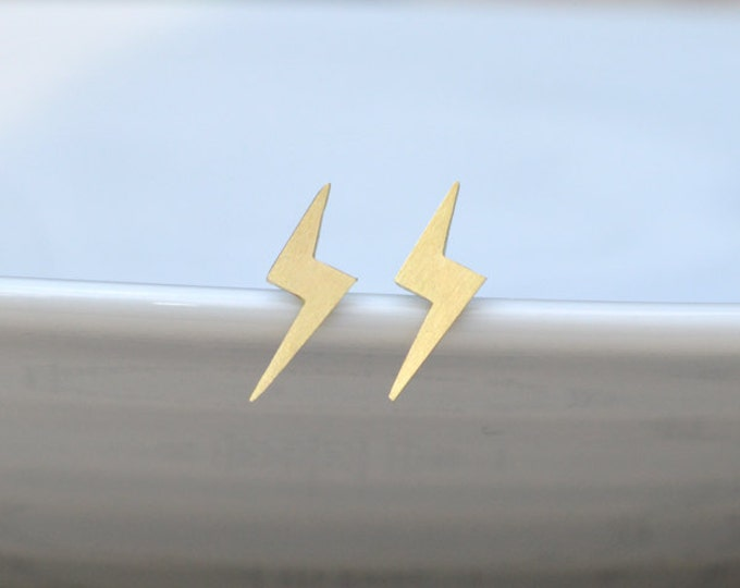 Lightning Bolt Earring Studs In Gold, Weather Forecast Earring Studs, British Weather Jewelry Handmade In The UK