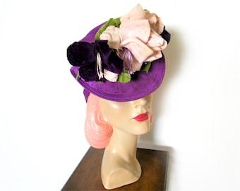 Vintage 1940's Purple Floral Percher Tilt Hat ~