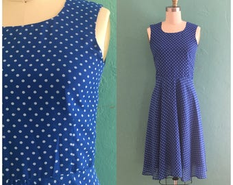 vintage blue polka dot dress // full skirt dress