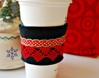 Coffee Cozy, Christmas Holiday Coffee Cozy, Stocking Stuffer, Home and Living Covers and Cozies, Housewares Cozies, Coffee Sleeve