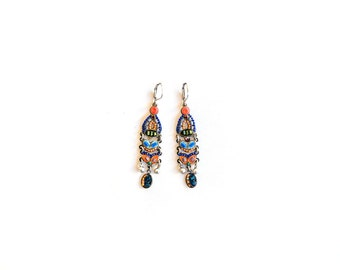 Chandelier earrings in orange-blue - Coated brass - metal strings - hand painted - metal elements - glass beads - handmade by Adaya Jewelry