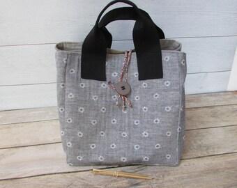 Handbag, grey floral cotton fabric, bag 2 positions - 23 x 23 x 23 cm - 235