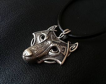 Wolf Necklace, Celtic Wolf Necklace, Mens Necklace, Viking Wolf Pendant Necklace, Viking Jewelry, Celtic Jewelry, Mens Leather Necklace