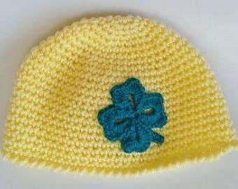 bonnet bébé, taille 0/1 mois, fait main, crochet, couleur jaune