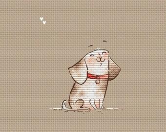 Cute puppy Cross Stitch Pattern Sitting dog small pattern cross stitch easy pattern dog stitch for baby cross stitch for dog lover