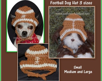 Instant Download Crochet Pattern- Football Dog Hat  - 3 sizes S M L