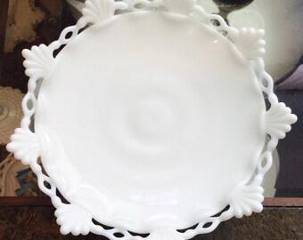 Vintage Westmoreland Ring & Petal Milk Glass Footed Cake Plate