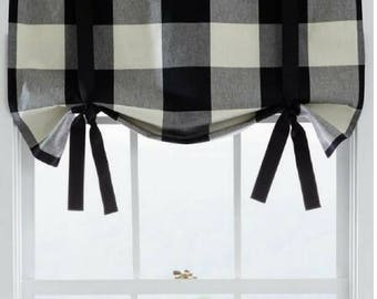 Buffalo Check Plaid Tie Up Window Valance, Sash Valance, Rod Pocket, Black, White, Red, French Gray, Cloud Linen Beige
