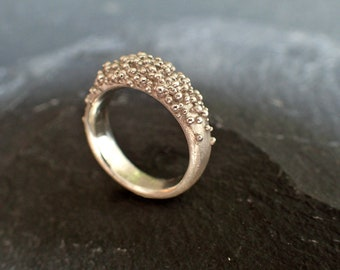 granulation Ring, Textured ring, organic ring silver, Coral Ring silver, nature ring, granulation jewelry, ocean jewelry, organic design