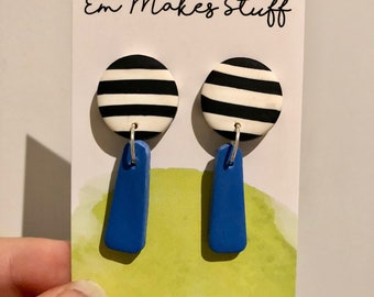 Stripe and cerulean blue dangle earrings