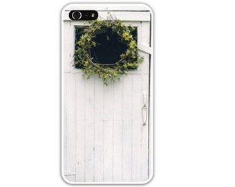 Iphone Case , iphone SE, iPhone 4/4s,  iPhone 5/5s, iPhone 6, Shabby Chic, Rustic Barn Door, White Shed Door, Yellow Forsythia Wreath