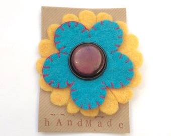 Large Felt flower brooch - turquoise and yellow