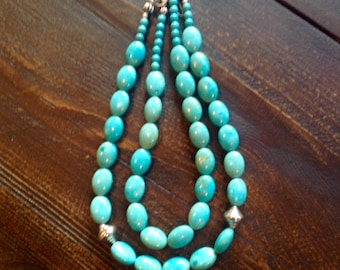 Magnesite turquoise with Hill Tribes silver beads double strand with extender