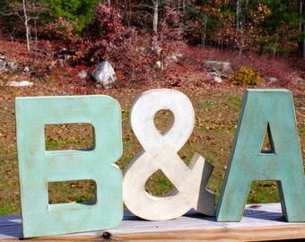 "12"" Painted Letter Initials with Ampersand (&). Painted Letters. Distressed Letters. Couple Set. Wedding Gift. Photo Prop. Engagement. Gift"