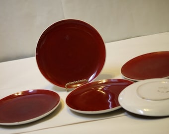 "Italian Pottery Plates Majolica 8 1/8"" Rust Red Color Signed 02230 Italy 5 Plates Lunch Salad Appetizer Plates"