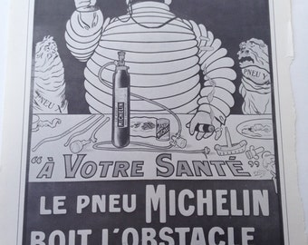 Vintage Bicycle Poster  Michelin Man Black and White Poster Size Book Plate