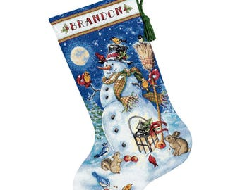 "Counted Cross Stitch CHRISTMAS Stocking Snowman and Friends Dimensions Kit 16"" -Free US Shipping!!!"
