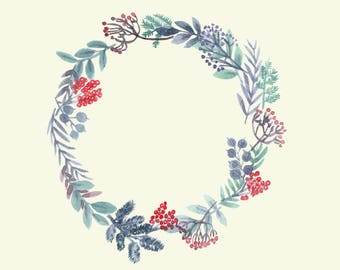 Paper Cutout-style Hand-painted Watercolour Christmas Wreaths and Sprigs (DIGITAL DOWNLOAD)