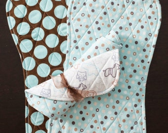Trio of Handcrafted Quilted Flannel Burp Cloths