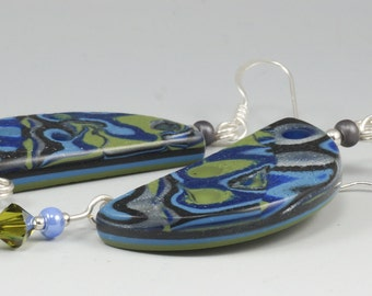 Mod Abstract Earrings - Blue Olive Green Retro Half Moon Dangle No. 183