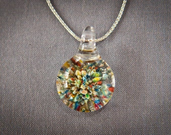 Multi-Colored Frit Pendants Hand Sculpted by Jenn Goodale