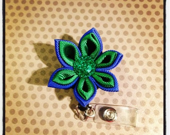 Small Blue and Green Kanzashi Flower Badge Reel...Badge Reels...Womens Accessories...Kanzashi