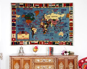 World map rug etsy 190 x 132 cm rare gigantic warrug oriental wall rug world atlas carpet map hand knotted gumiabroncs Gallery