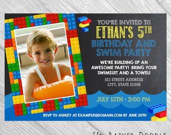 Custom Birthday Pool Party Invitation Bricks - Chalkboard Birthday Invite Printable / Boy Birthday / Girl Birthday / Bricks Birthday