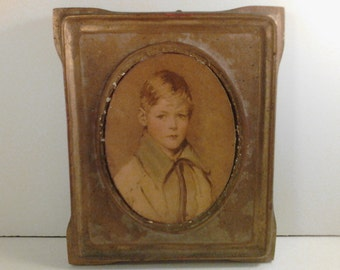 1940's Wood Plaque Mounted Print Picture Chalkware Plaster Oval Gold Handsome Young Boy Peter Shappy Chic Patina Victorian Wall Hanging