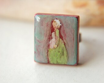 Hand Painted Ring Renaissance Lady Adjustable Band Wood Scrabble Tile - The Milkmaid