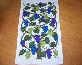 Vintage Linen Towel with Grapes Signed Lois Long Tea Towel Wall Hanging Grapes Towel