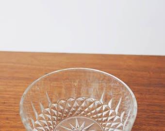 Starburst/Atomic Pressed Glass Small Bowl Ring/Trinket Dish Vintage