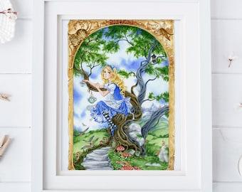 Alice in Wonderland art print, Tea party, fairy tale, chesire cat, 8x10