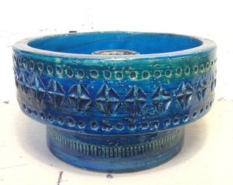 1960's Retro Blue Aldo Londi Bitossi Pottery Candle Holder C48/14