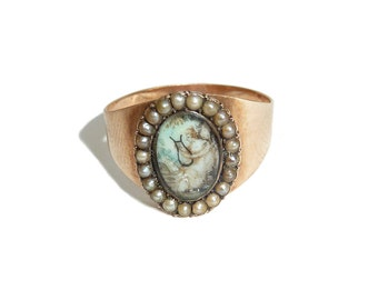 Georgian Mourning Ring - Lady Playing A Lyre - Pearl Halo