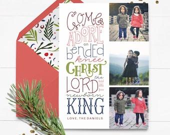 Custom Religious Christmas Card - Come Adore Him - Custom Christmas Card - Printed Christmas Card - Photo Christmas Card -Hand Lettered Sale