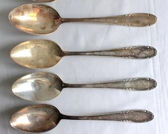 Homag 90 Germany 6 Serving Spoons Silver Plate 8 1/2 long Vintage 03586