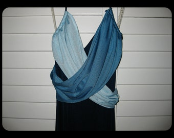 "VINTAGE 1970s Retro ZumZum Blue on Blue on Blue ""Greek Goddess"" Halter Strap Maxi Gown Long Prom Party Bridesmaid Dress w/WrapAround Sashes"