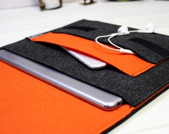 iPad Air sleeve, iPad Air 2 case, iPad Pro case, orange tablet case, iPad Pro sleeve, iPad Air case, tablet sleeve, tablet case, iPad sleeve