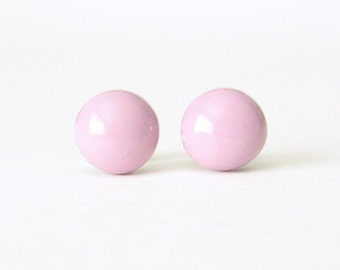 Ballet Pink Studs, pink earrings, Small Round Post Earrings, pastel pink studs, hypoallergenic, pink stud earrings, pink post earrings