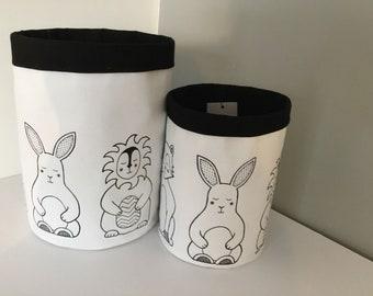 monochrome retro kids fabric storage bucket bag tub