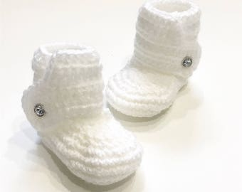 FREE SHIPPING! Baby booties, crochet baby boots, white with rhinestone buttons