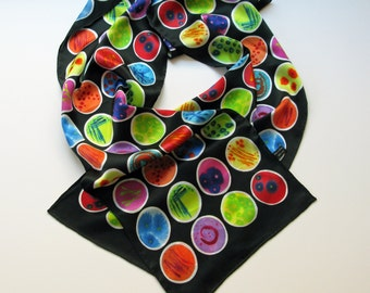 Black Petri Dishes Silk Charmeuse Scarf