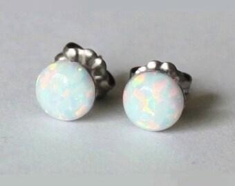 8 mm White Opal Stud earrings, Titanium earrings, opal earrings, hypoallergenic Titanium opal post studs, Bridesmaid earring, sensitive ears