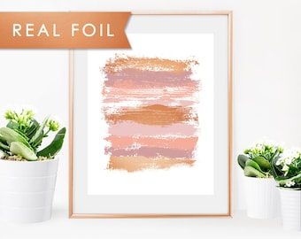 Mauve & Blush Pink Paint Stripes- Real Copper Foil Art Print